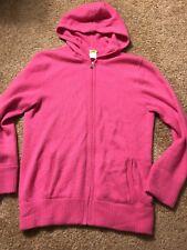 J. Crew Cashmere Cardigan Hoody Sweater Size M Medium Pink Fuchsia 2008