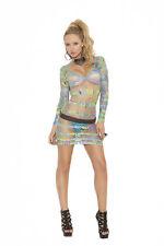 Long Sleeve Mini Dress in Geometric Print! One Size! Adult Woman Clothing