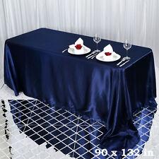 "1 pc Navy Blue 90x132"" RECTANGLE Satin TABLECLOTH Wedding Party Banquet Linens"