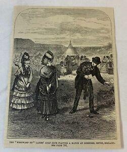1877 magazine engraving ~ WESTWARD HO LADIES GOLF CLUB Bideford, Devon, England