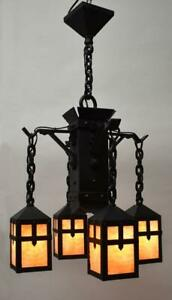 Arts & Crafts Gothic Revival Hammered Iron Chandelier Granite Back Glass