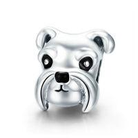 Schnauzer Genuine 925 Sterling Silver Charm Pet Dog European Bead Fits Bracelet