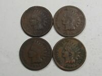 4 Better Date Indian Head Pennies:1875 Corroded, '94(2), '81 VF Full LIBERTY.#18