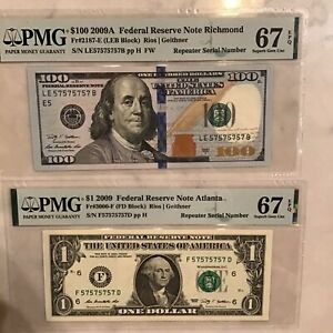 FR#2187-E&FR#3000-F.High Denomination$100.Super Repeater Matching$1.00 PMG67EP😃