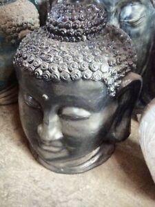 BLACK BALINESE BUDDHA HEAD STATUE