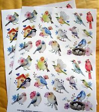 New Water Color Birds 52 Stickers Acid Lignin Free Scrapbook Cards