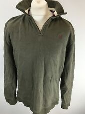Crew Clothing Jumper Sweater Size L Large - 1/4 Zip - Military Green