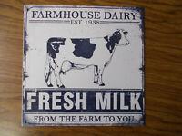 Farmhouse Dairy Fresh Milk COW Farm Tin Metal Sign Wall Home Decor NEW