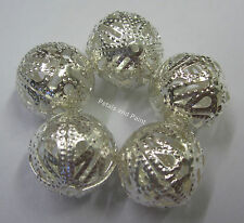 5 New 18mm Metal Filigree Silver Tone Ball Beads for Beading Jewellery JF491