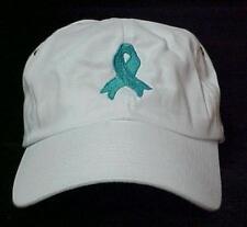 Ovarian Cancer Teal Ribbon Awareness Cobra White Cotton Baseball Hat Unisex New