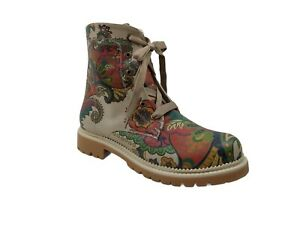 Goby Paisley Boots Women's NJR101 Size 42 EUR 11.5 - 12 US Lace Up Beige Red