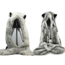 Snow Leopard & Wolf Hoodie 3 Function Hat Scarf with Ear Hand Pocket Mittens cap