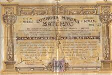 Mexico 1910 Gold Silver Mining Minera Saturno 5 shares UNCANCELLED revenue coup