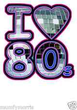 I LOVE / HEART THE 80S MIRROR BALL iron on t shirt transfer A5