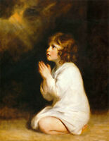 Art Oil painting Joshua Reynolds - The Infant Samuel  little girl Prayer canvas