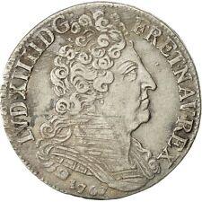 [#482683] Coin, France, Louis XIV, 20 Sols aux insignes, 1/4 Ecu, 1707, Paris