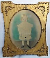 Large Antique Child's Toddler's Portrait Colorized Tinted Photo Gilt Frame Oval