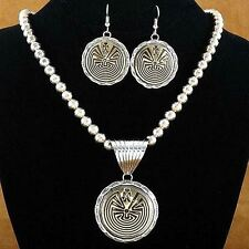 Navajo MAN IN THE MAZE Necklace Pendant Earrings Set Sterling Silver Gold Filled