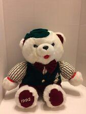"White Teddy Bear Plush W/ Velvet Hat,Suit, Bowtie/& Pocket Watch 22"" 1992"