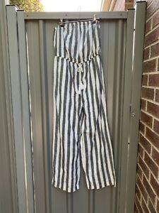Goa Beachwear By Japna stripe linen blend sleeveless wide leg playsuit size L