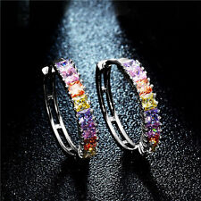 Silver Plated Colorful Crystal Cubic Zirconia Hoop Earrings Women Jewelry Gift