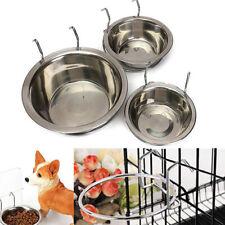 Metal Dog Pet Bowl Cage Crate Hanging Food Dish Water Feeder Stainless Steel
