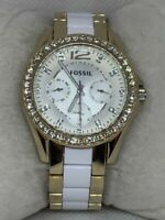 Fossil ES3527 Riley Women Two-tone Stainless Steel Analog Dial Wrist Watch E153