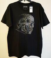 SEAN JOHN NWT Men's SKULL Silver Studded Graphic T Shirt Black Size M L XL