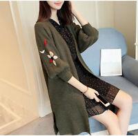 New Spring Korean Fashion Loose Lantern Sleeve Knitting Cardigan Sweater Coat