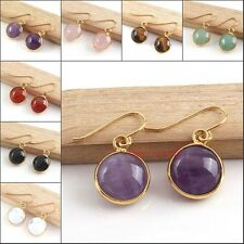 18K Gold Plated Natural Amethyst Quartz Gemstone Round Cabochon Earring Jewelry