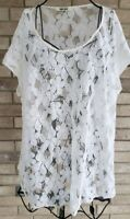 Daniel Rainn Womens 3X Top Lace Floral Mesh Shirt Plus Size Stretch White Blouse