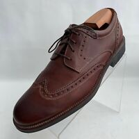 Johnston Murphy Oxford Wingtip Brogue Brown Leather Lace Up Shoes Size 8.5M