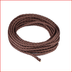 10 Meters 3 Core Brown Braided Electrical Cable Licperron Vintage Antique Cloth