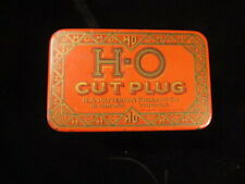 Vintage HO Cut Plug Tabacco Tin great shape 1910 red chew smoke patterson early