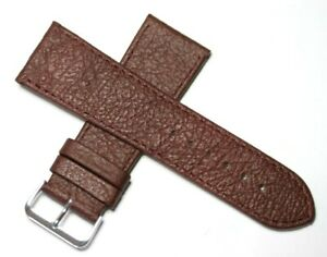 22MM, 26MM, 28MM & 30MM GENUINE LEATHER WATCH STRAP BURGUNDY WITH STEEL BUCKLE