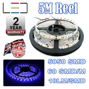 5m 24v Blue LED Strip Light 5050 IP65 300SMD 18LM/SMD 60SMD/m Bright Waterproof