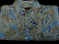 Tori Richard SS Short Sleeve Aqua Hawaiian Camp Sport Shirt Mens L Large