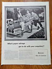 1945 Ansco Film Cameras Ad Children Doing Paper Salvage Recycling