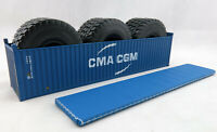 Iconic Replicas 40 ft Container Open Top CMA-CGM & Mining Truck Tyre Load 1:50