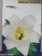 Paquete de 10x A4 Zanders Imagen JET Metálico Oro Tarjetas de felicitación
