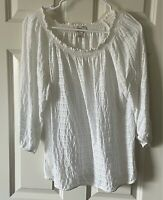 Ann Taylor LOFT Outlet Boho 3/4 Sleeve Smocked Boat Neck Top - Women's Small S
