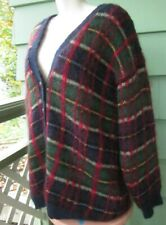 Susan Bristol Fuzzy Mohair Wool Acrylic Lined Cardigan Sweater Plaid Large 1993