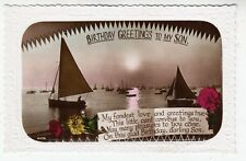 FISHING BOATS - Birthday Greetings To My Son - c1920s real photo postcard