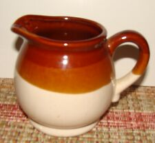 """Vintage Brown & Tan Pottery 3 3/4"""" T Small Creamer Milk Pitcher"""