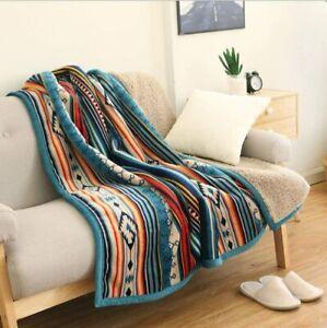 Ukeler Flannel Sherpa Throw 50'' x 60''- Bohemian Soft Plush Flannel Blanket Thr