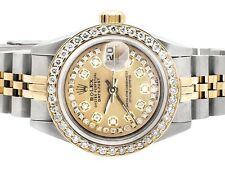 Ladies 26 MM Rolex 2 Tone Datejust 18k/Steel Yellow Gold Dial Diamond Watch 3 Ct