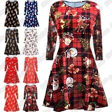 New Ladies Kid Girls Snowman Reindeer Print Christmas Flare Mini Swing Dress Top