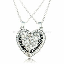 2PCs Clear Broken Heart Pendants Mother And Daughter Necklace Mothers Gifts Mom