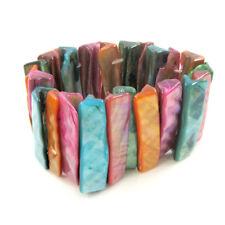 Bright Colourful Shell Bracelet Natural Jewellery Stretchy Boho Festival Glam320