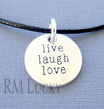 "Live Laugh Love Pendant Tag Necklace Surfer Choker Black Waxen cord 18 1/2"" b14"